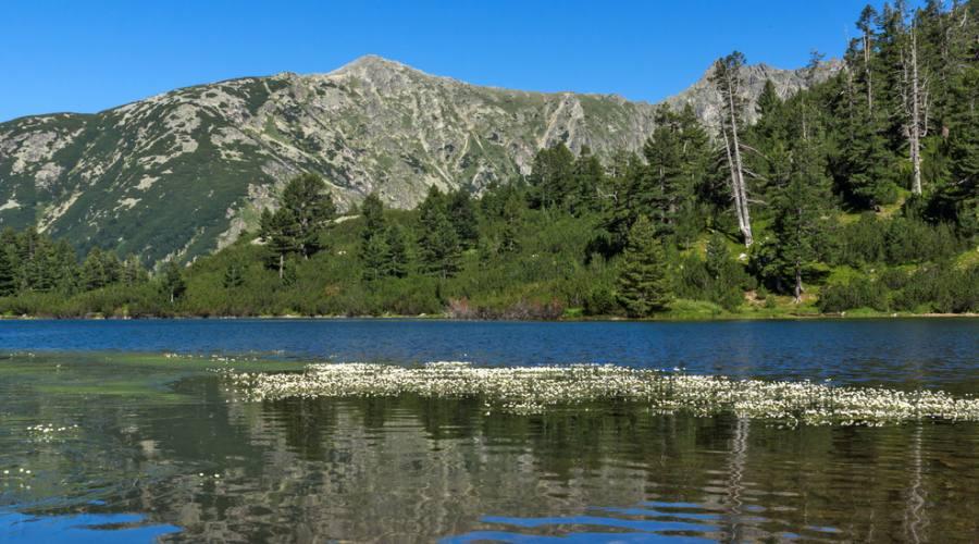 Splendide montagne sul lago Vasilashko
