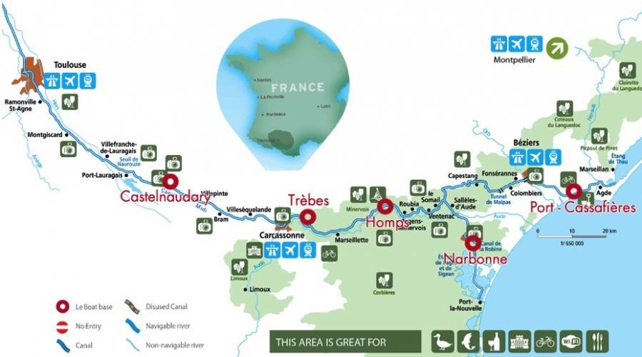 Mappa Canal du midi