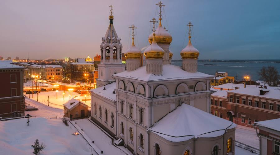 Nizhny Novgorod vista aerea della Chiesa della Natività