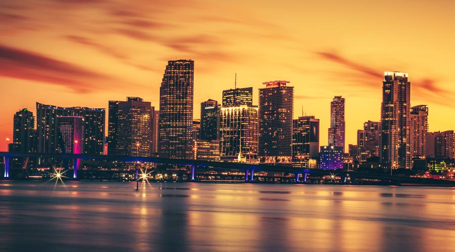 Miami downtown sunset