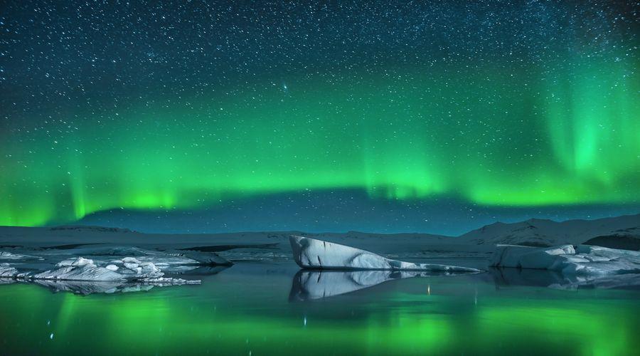 Aurora Boreale sulla Laguna glaciale Jokulsarlon