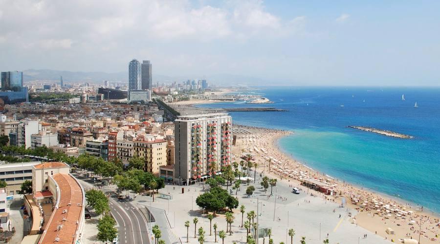 Barcellona, panoramica della spiaggia