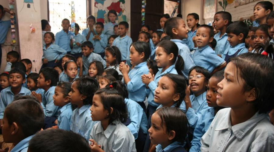I bambini della Kumbeshwar Technical School
