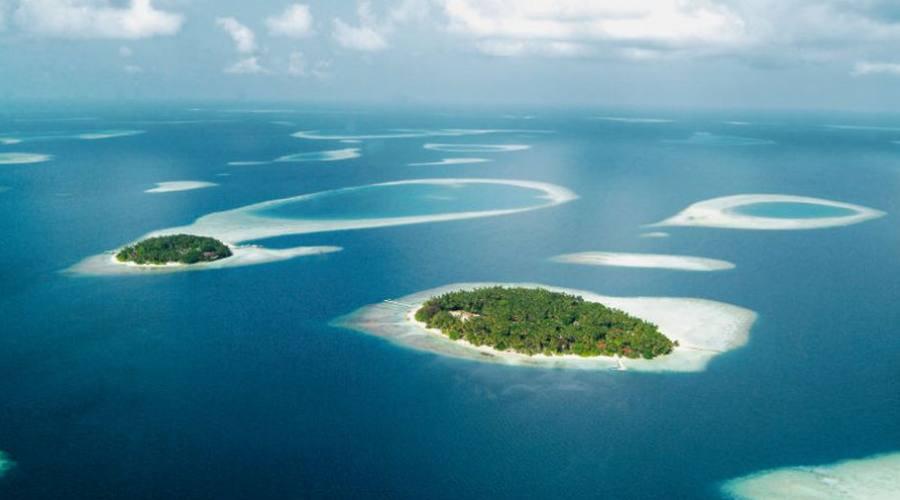 Veduta aerea atolli maldiviani