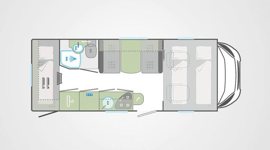 Possibile configurazione GIORNO camper Grande per viaggi in Irlanda