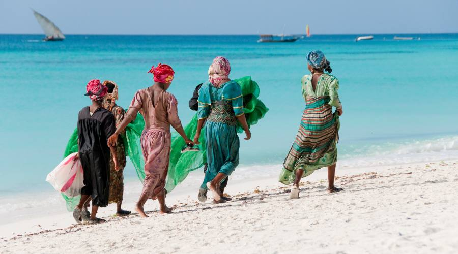 Colorfull dress of women in the beach