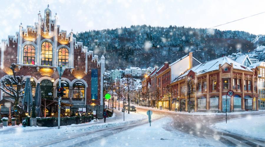 Centro storico di Bergen in inverno, Norway in a Nutshell