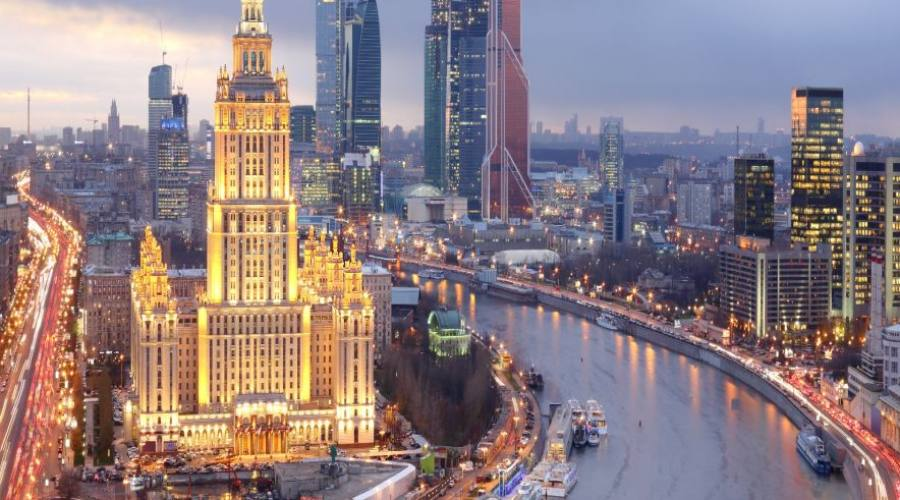 Mosca panoramica sulla Moscova