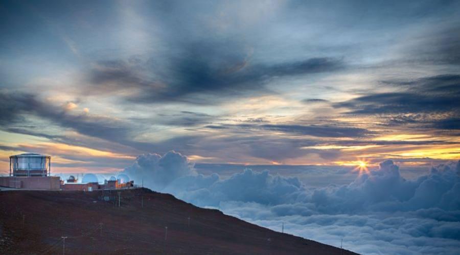 Haleakala Observatory on the summit of the volcano on Maui during sunset