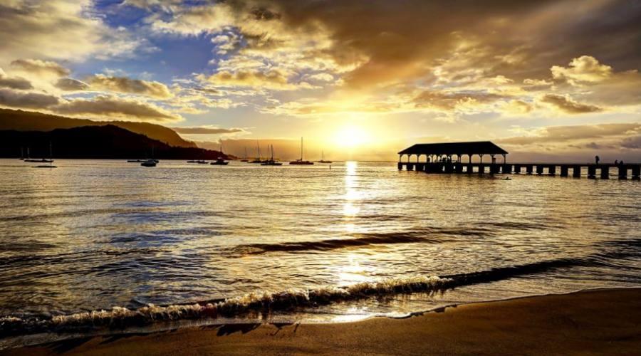 Hanalei Pier at Sunset - Island of Kauai