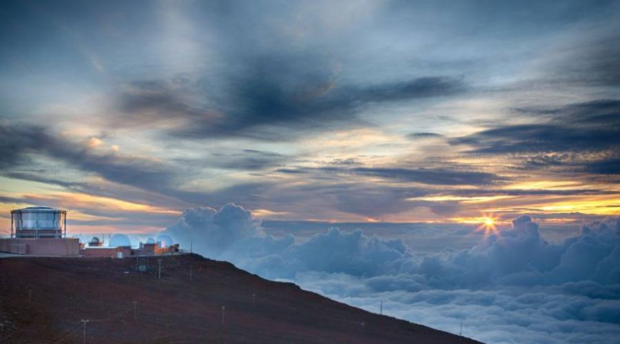 Haleakala Observatory on the summit of the volcano on Maui during sunset