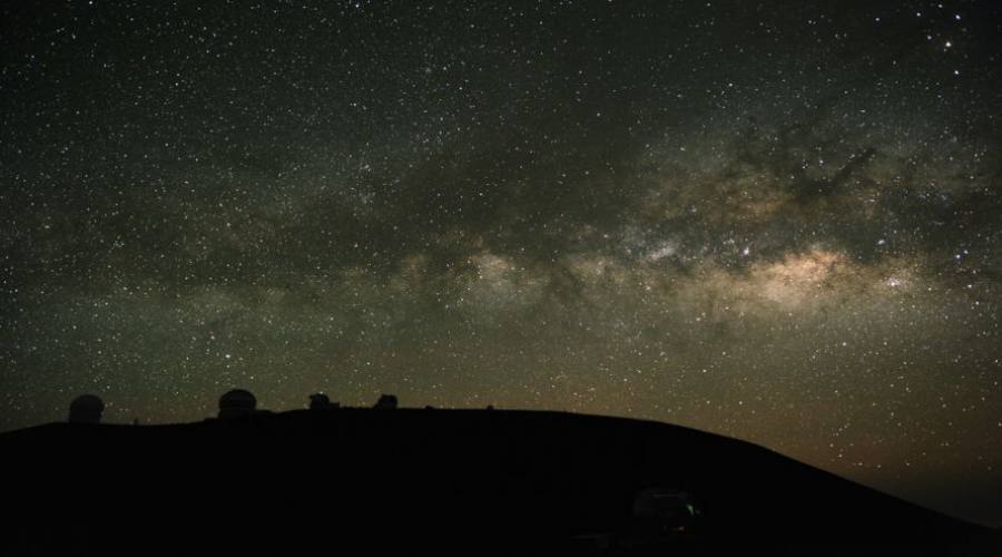 Telescopes observe the Milky Way. These are on Mauna Kea, Hawaii; one of the best astronomical sites in the world