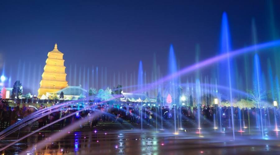 Xi'An Giochid'Acqua sullo sfondo della Pagoda dell'Oca