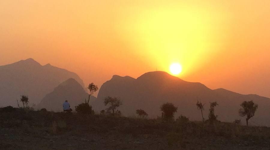 Il tramonto sulla montagna di Jebel Shams