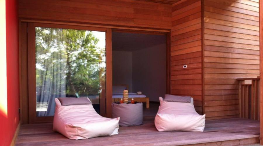 Le patio des chambre Beach Front