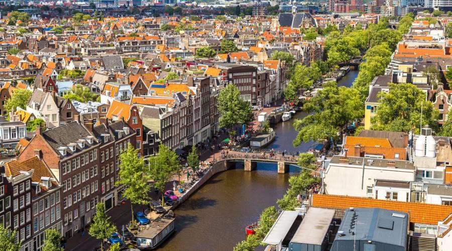 Parte della città di Amsterdam vista dall'alto