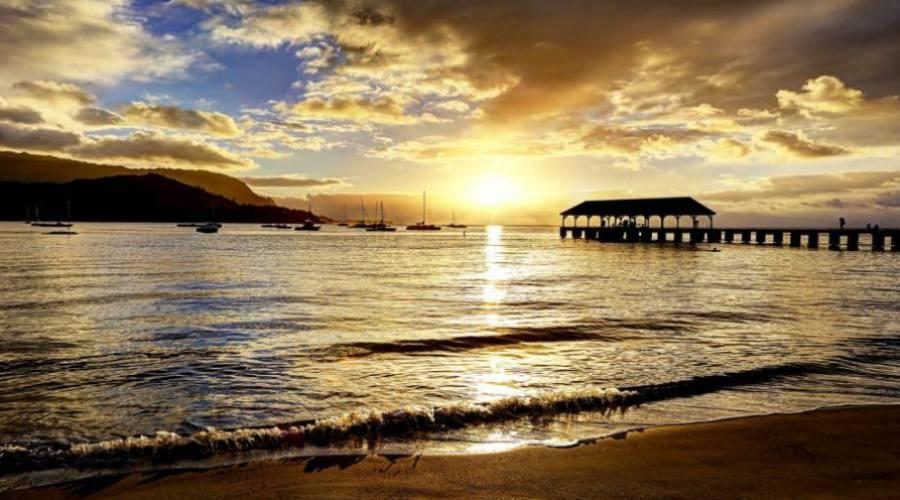 Kauai - tramonto a Hanalei Pier
