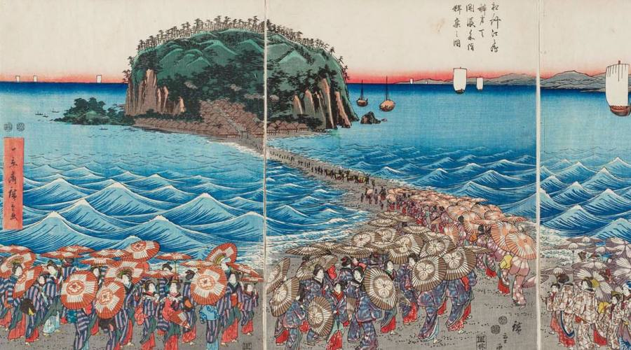Utagawa Hiroshige: Crowds Visiting the Shrine of Benzaiten
