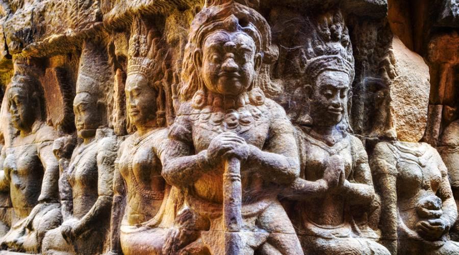 Angkor Thom, particolare della terrazza del Re lebbroso
