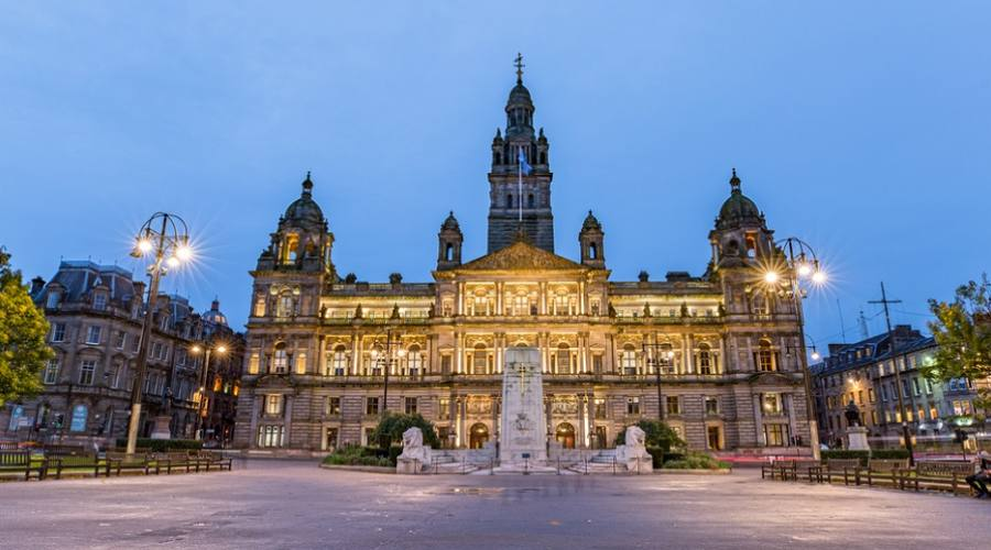 George Square a Glasgow di notte