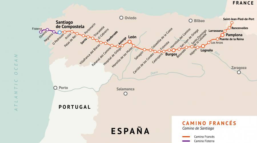 Il Cammino, l'itinerario Francese