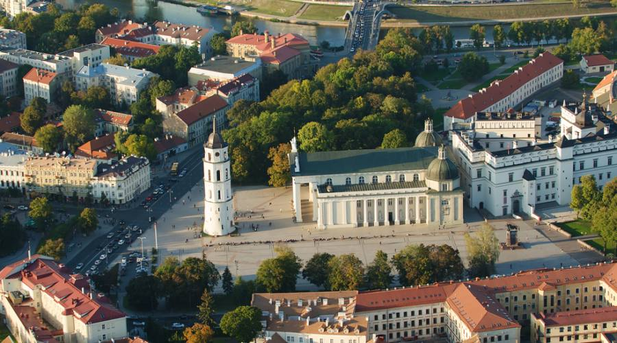 Vilnius città vecchia vista aerea