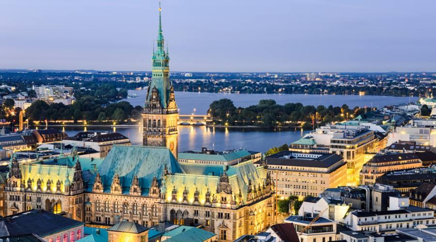 Vista aerea di Amburgo