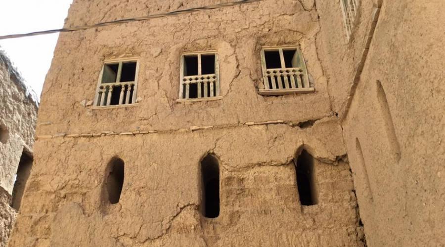 Un particolare delle case di fango